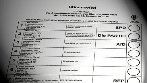 Wahlzettel Oberbürgermeisterwahl 2015