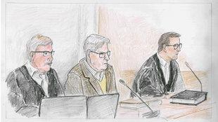 Gerichtsskizze: Der Angeklagte im Auschwitz-Prozess