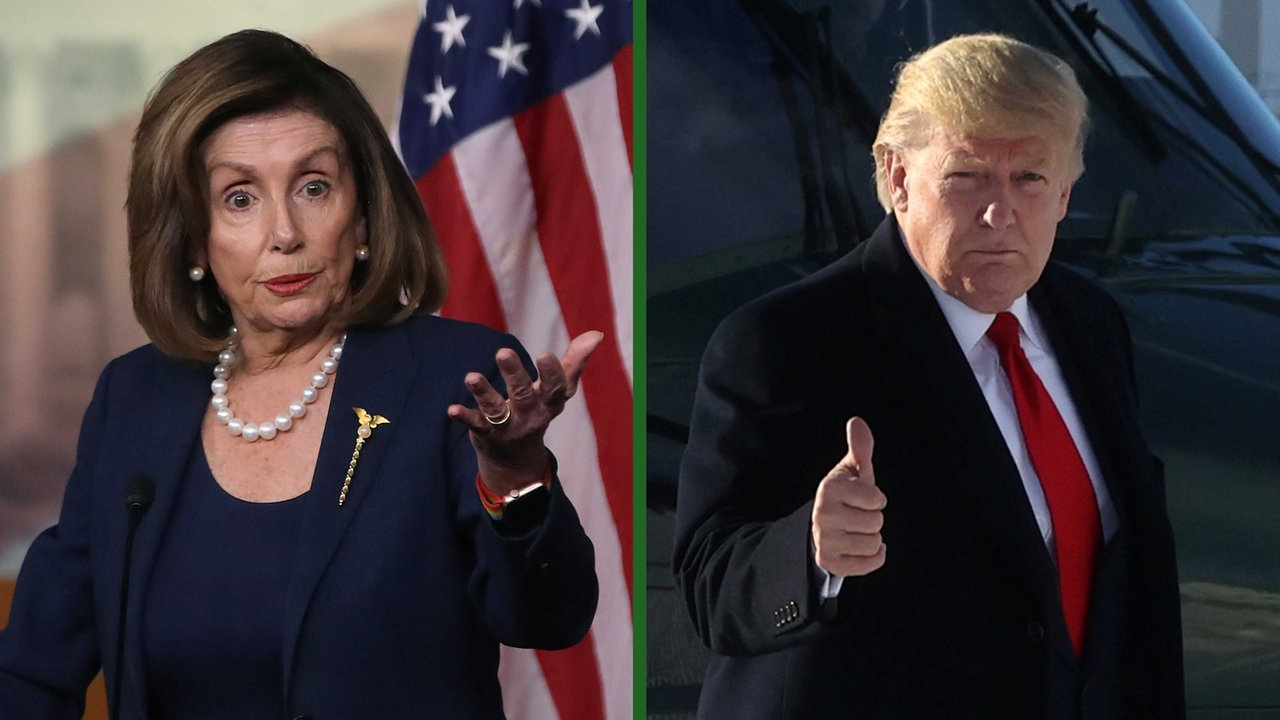 Collage von Nancy Pelosi und Donald Trump
