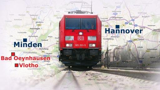 Karte mit Güterzug, Hannover, Minden, Bad Oeynhausen