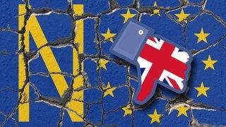 Erodierende und zerfallende EU Flagge mit Wort No und abwärts gerichtetem Dislike Daumen in den Farben des Union Jack s von Großbritannien
