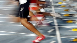 Leichtathleten beim 100 Meterlauf der Männer, in Cali, Columbien 15.Juli 2015