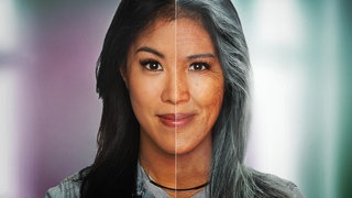Montage: Split Screen – Mai Thi Nguyen-Kim links jung, rechts gealtert