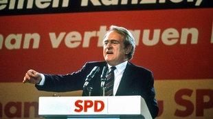 Johannes Rau als Kanzlerkandidat der SPD im Bundestagswahlkampf