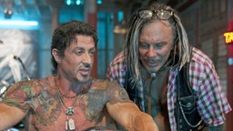 THE EXPENDABLES: Sylvester Stallone, Mickey Rourke, 2010.