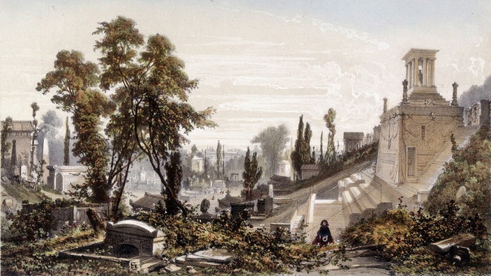 Friedhof Père Lachaise in Paris um 1820