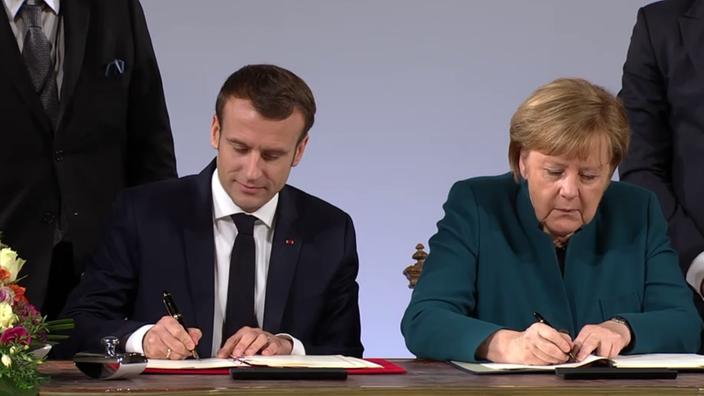 Merkel Und Macron Unterzeichnen Vertrag Von Aachen Rheinland