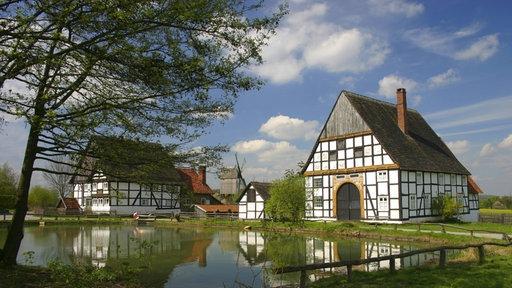 Fachwerkhäuser am Teich.
