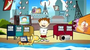 Zeichentrick-Figur Knietzsche steht mit Tablet-Computer zwischen verschiedenen anderen Medien