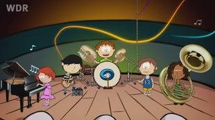 Zeichnung: Fünf Kinder machen auf einer Bühne Musik