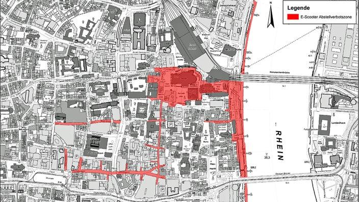Карта запрета на парковку электроскутеров в Кельне