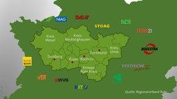 Eine Karte mit den Verkerhsbetrieben aus dem gesamten Ruhrgebiet