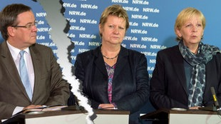Armin Laschet, Sylvia Löhrmann, Hannelore Kraft, auf dem NRW-Flüchtlingsgipfel