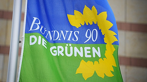 Bündnis 90 die Grünen auf einer Flagge