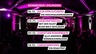 1LIVE Stories. Ankündigungen Oktober/November