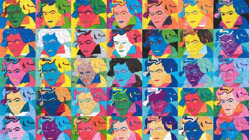 Collage von Beethoven-Portraits