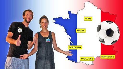 KiRaKa-EM-Tour 2016 Banner Frankreich-Karte, Niko und Konstanze, Fußball