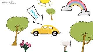 """Grafik mit gelbem Auto und einer Sprechblase (""""Juhu!!"""")"""