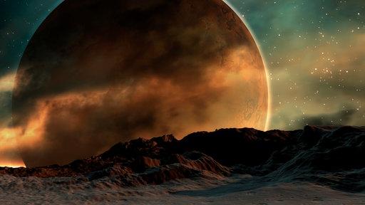 Von einem Planeten aus schaut man ins Weltall hinaus.