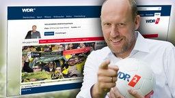 Sven Pistor vor einem Bildschirmfoto des WDR2 Tippspiels (Montage)
