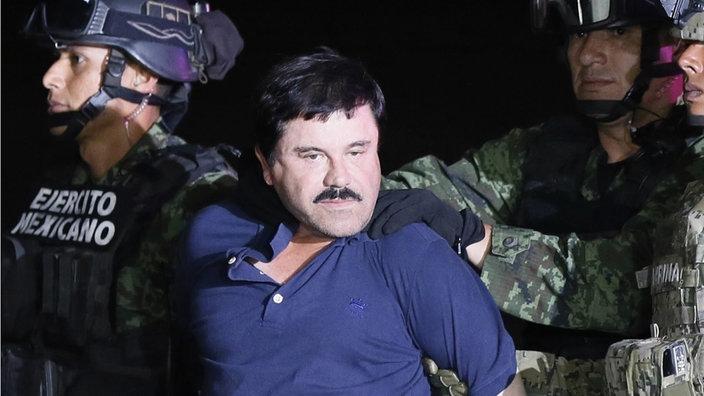 """Joaquin Guzmán, genannt """"El Chapo"""" gefasst von Kräften der mexikanischen Armee in Sinola am 8. Januar 2016"""