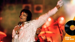 "Michael Jackson performs during the ""Victory Tour."""