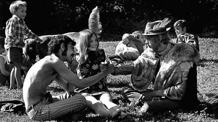 Hippies in San Francisco in den 60er Jahren im Golden State Park