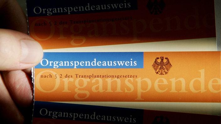 Eine Hand hält einen Organspendeausweis
