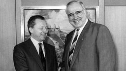 Jacques Delors 1987 zu Besuch bei Helmut Kohl
