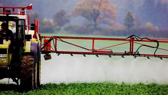 Ein Landwirt versprüht auf einem Feld ein Pestizid
