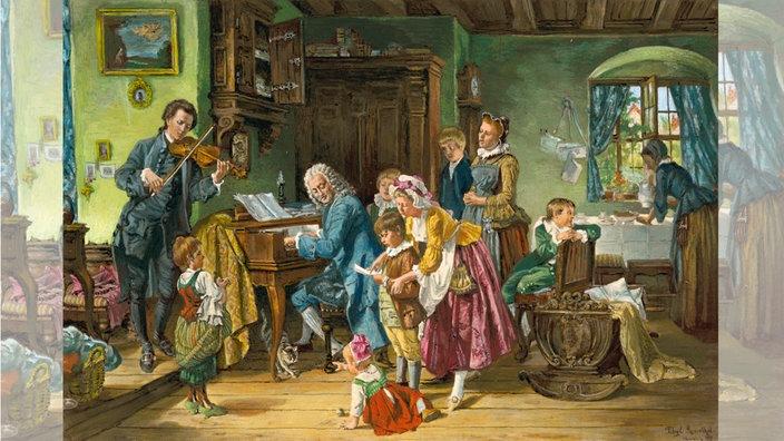 familienszene im hause von johann sebastian bach - Johann Sebastian Bach Lebenslauf