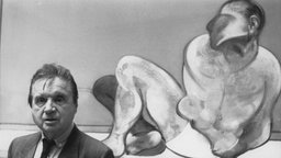 "Francis Bacon in der ""Tate Galerie"", 1985"