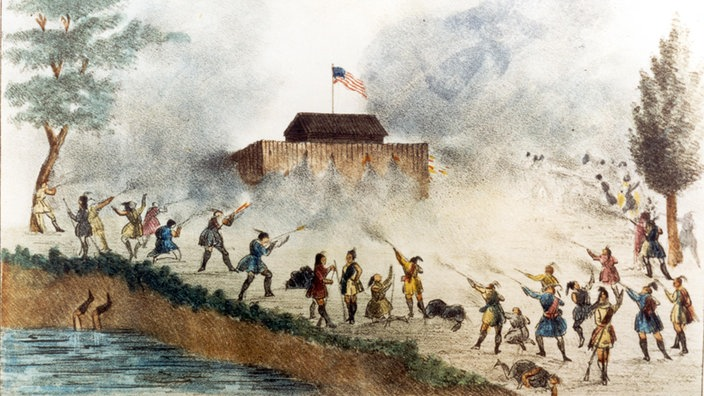 Seminolen-Angriff auf US-Fort am Lake Okeechobee in Florida 1837