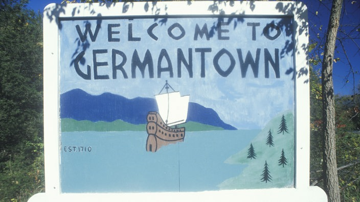 "Schild ""Welcome to GERMANTOWN"" in Philadelphia, USA"