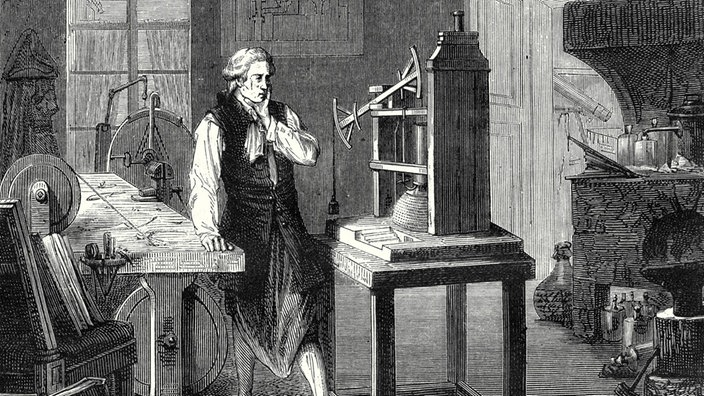 James Watt 1763 in seinem Laboratorium (Stich)
