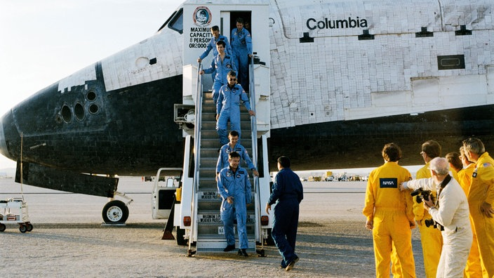 Rückkehr der Spacelab-Mission STS-9 am 9.12.1983 zur Edwards Air Force Base