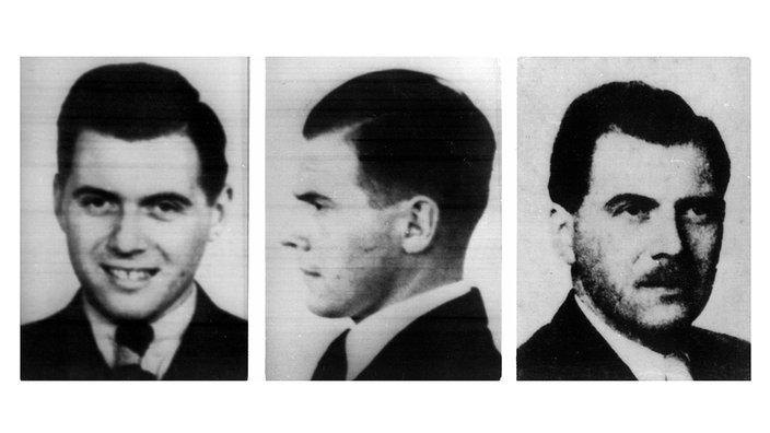 Josef Mengele, médico del campo de concentración de Auschwitz (las fotos de la izquierda y del medio son de 1938, la foto de la derecha de 1956)