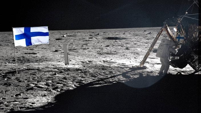 Apollo-11-Astronaut Neil A. Armstrong am 20. Juli 1969 während der Mondlandung