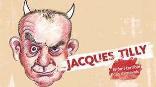 Eine Zeichnung von Jacques Tilly  mit Hörnern daneben in roter Schrift der Name