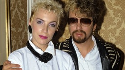 Das britische Pop-Duo Eurythmics, Annie Lennox und Dave Stewart, in London