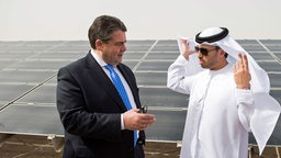 Bundeswirtschaftsminister Sigmar Gabriel (SPD) am 09.03.2015 in Masdar City