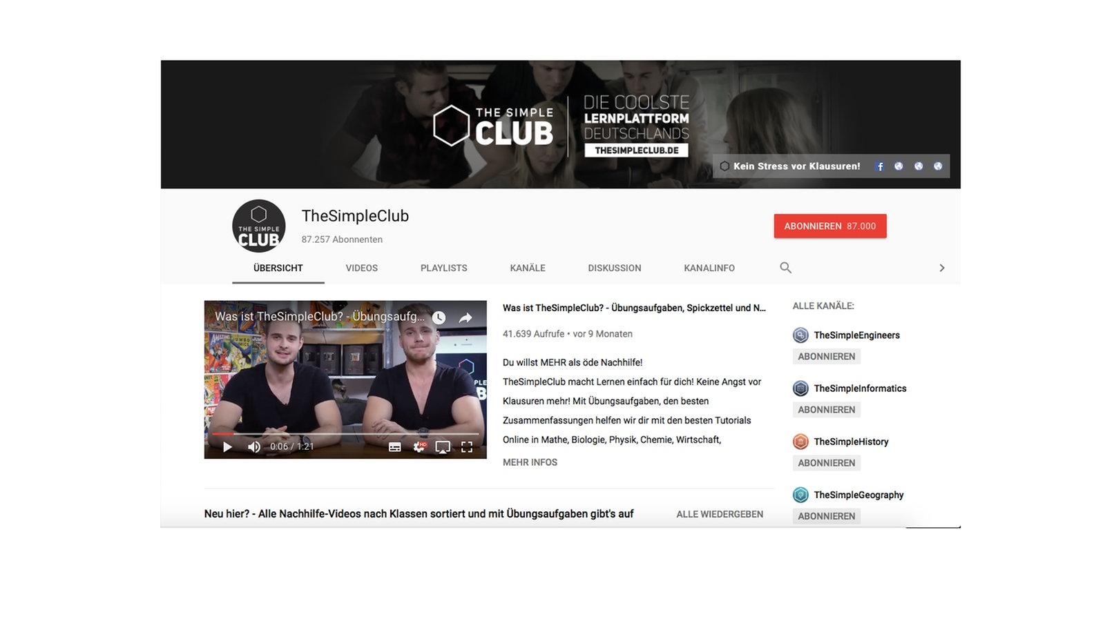 "Screenshot des Youtube-Tutorials ""TheSimpleClub"""